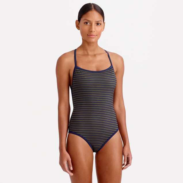Deck-stripe strappy racer one-piece swimsuit