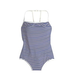 Deck-stripe strappy racer one-piece swimsuit