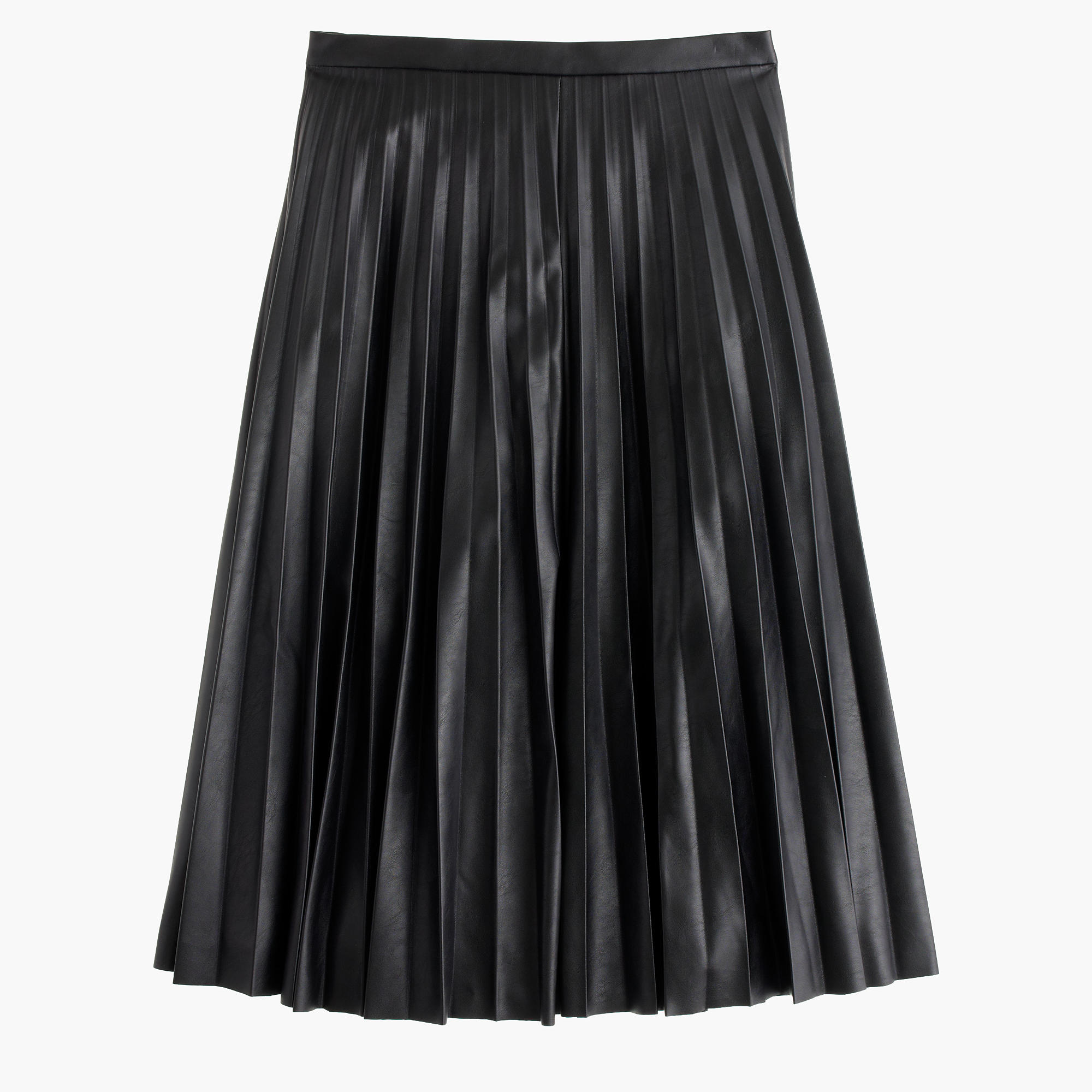 Faux-Leather Pleated Midi Skirt : Women's Skirts | J.Crew