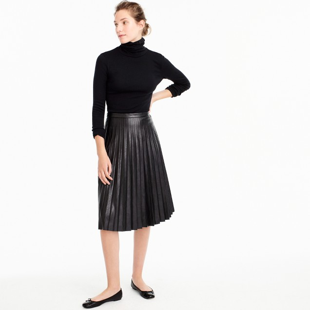 Faux-leather pleated midi skirt
