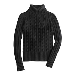 Petite Cambridge cable chunky turtleneck sweater