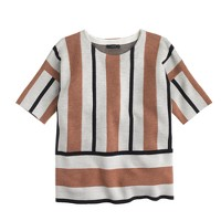 Stripe short-sleeve sweater