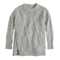 Wool side-zip cable sweater