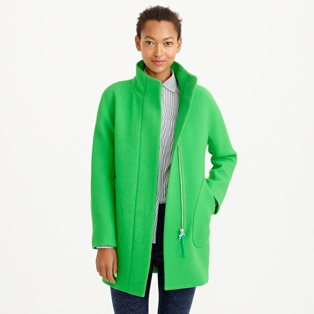 Double-cloth patch-pocket cocoon coat