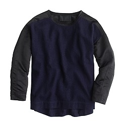 Collection boiled wool top with satin sleeves