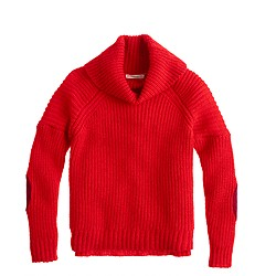 Girls' elbow-patch turtleneck sweater