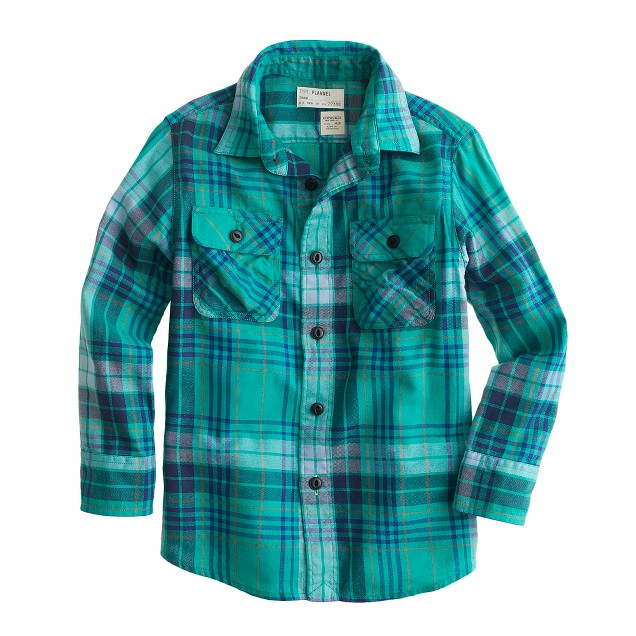 Boys 39 flannel shirt in luminary green plaid j crew for Green and black plaid flannel shirt