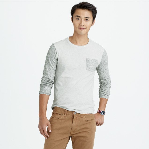 Slim long-sleeve flagstone contrast pocket T-shirt