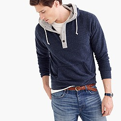 Brushed fleece henley hoodie