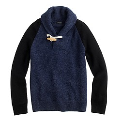 Kids' Italian cashmere shawl baseball sweater