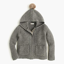 Girls' hooded wool jacket with pom-pom