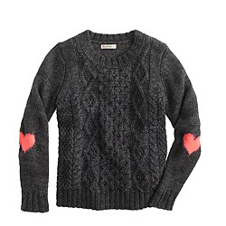 Girls' heart-elbow sweater