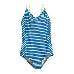 Girls' one-piece swimsuit in stripe