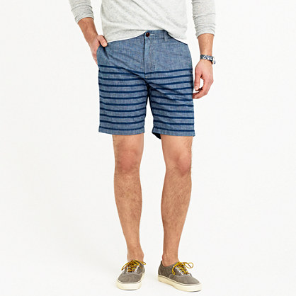 "9"" Stanton short in striped chambray"