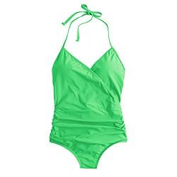 Halter wrap one-piece swimsuit
