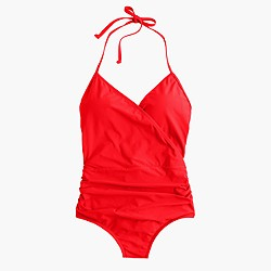 Halter wrap one-piece swimsuit
