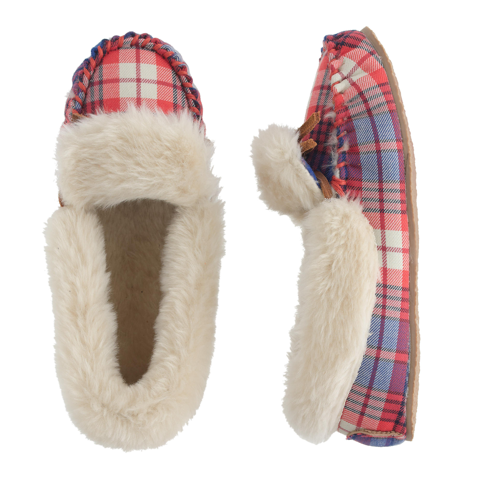 Kids 39 shearling lodge moccasins in tartan j crew for J crew bedroom slippers