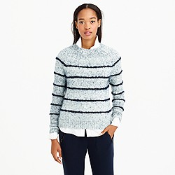 Mohair fuzzy-stripe sweater