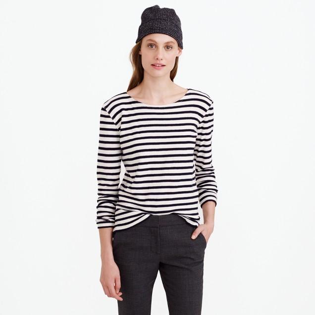Oversize stripe long-sleeve T-shirt