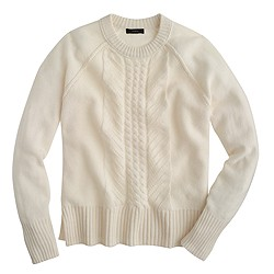 Wool pointelle cable sweater