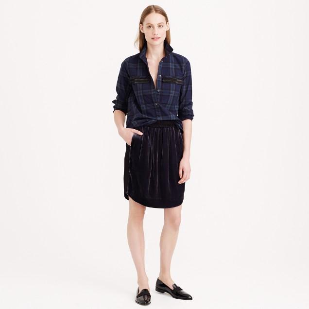 Mixed velvet skirt