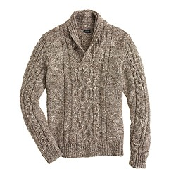Italian wool-alpaca shawl-collar cable sweater