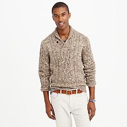 Italian wool-alpaca shawl-collar cable sweater