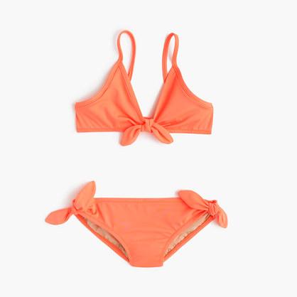 Girls' bow bikini set in neon