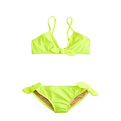 Girls' bow bikini set in neon