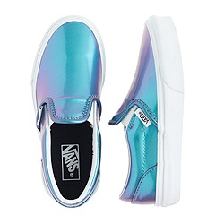 Girls' Vans® classic slip-on sneakers in blue patent leather