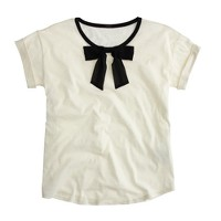 Roll-sleeve T-shirt with bow