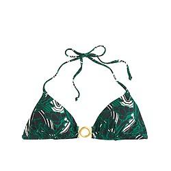 Retro floral ring halter bikini top