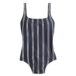 Double-stripe scoopback one-piece swimsuit