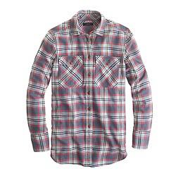 Petite boyfriend flannel shirt in dark plaid
