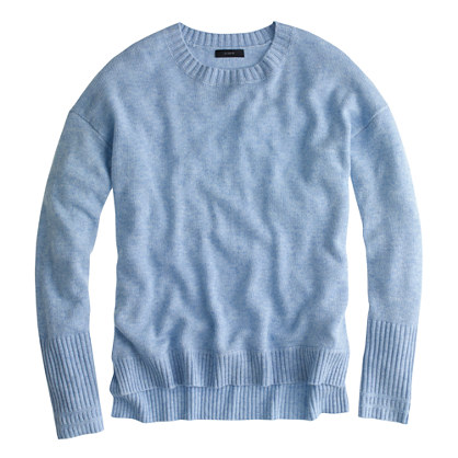 Sweater High Neck High-low Crewneck Sweater