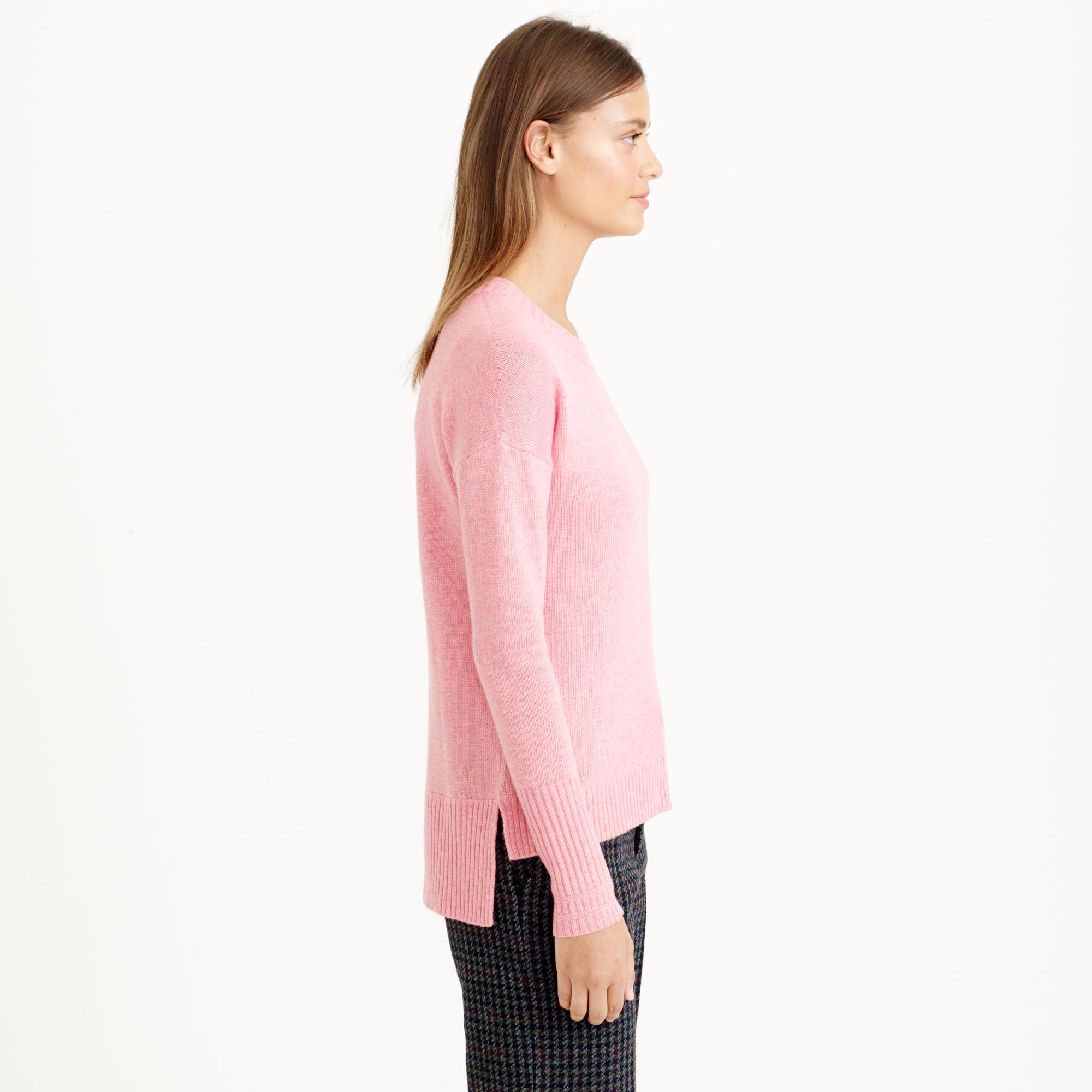 Sweater High Neck High-low Crewneck Sweater