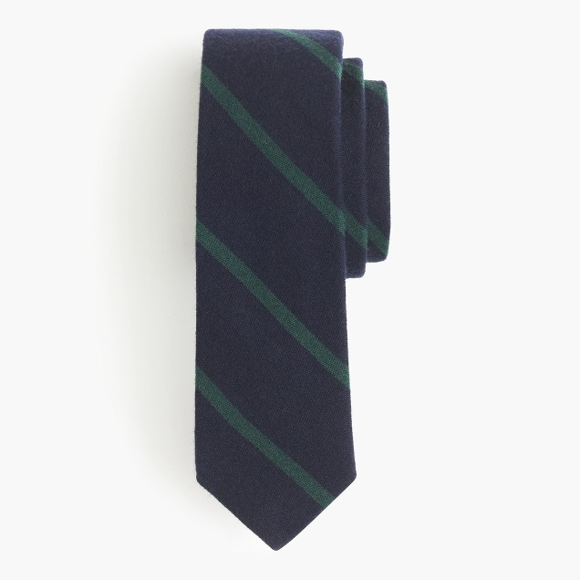 English wool-silk tie in thin stripe