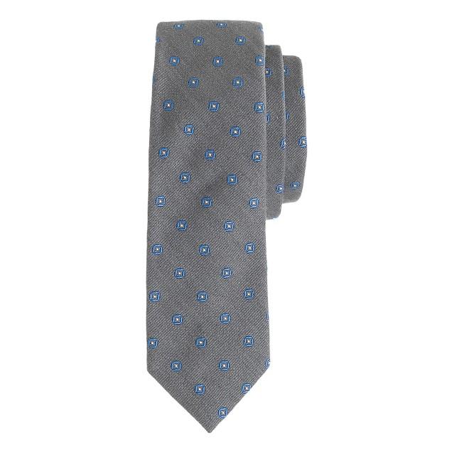 Italian silk-wool tie in diamond foulard