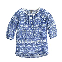 Girls' gauze tunic in baroque print