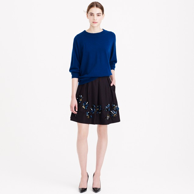 Collection jeweled faille skirt