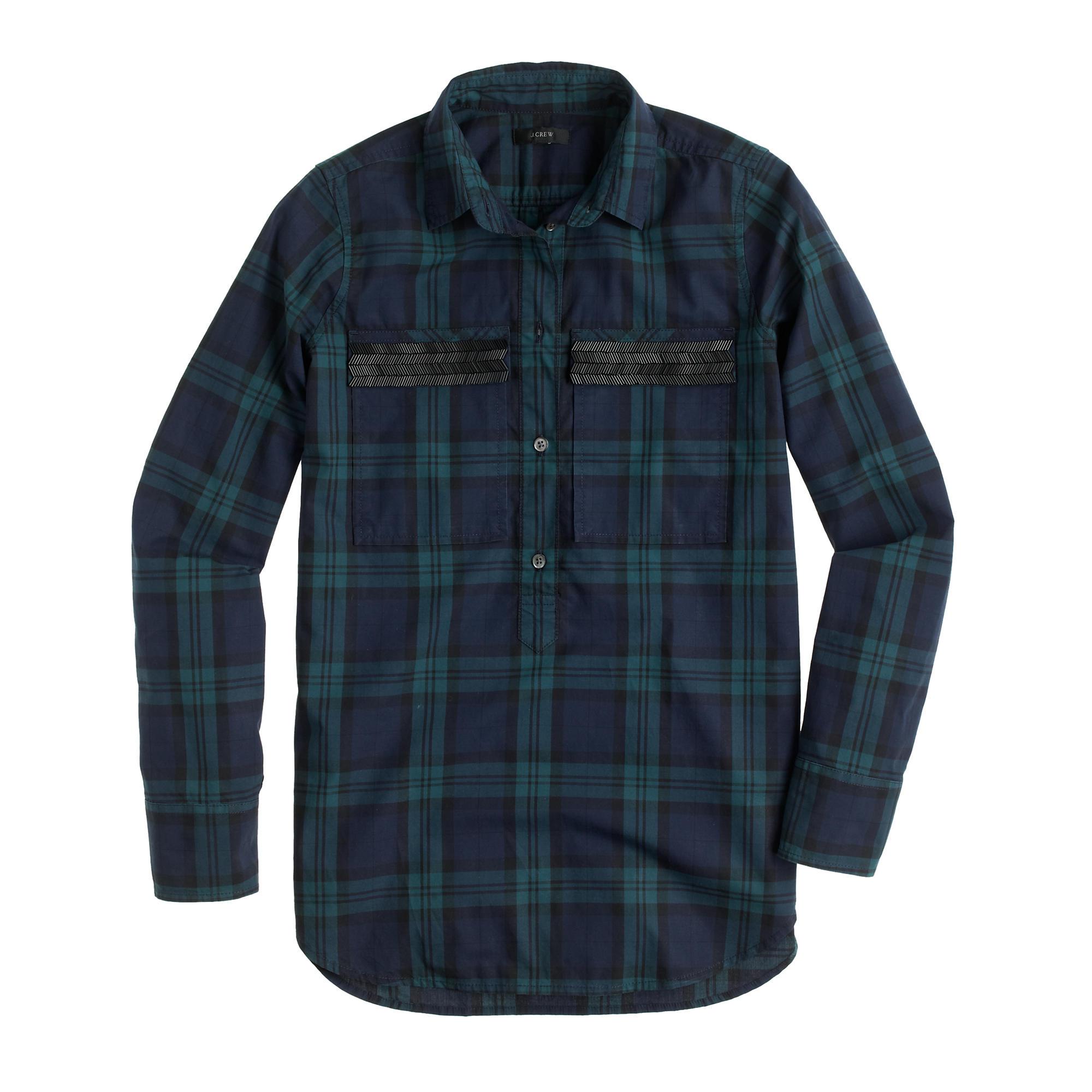 Beaded chevron popover shirt in black watch plaid j crew for Black watch plaid flannel shirt
