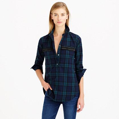Image result for black watch plaid shirt j crew