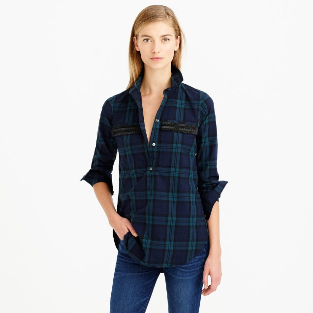 Beaded chevron popover shirt in black watch plaid
