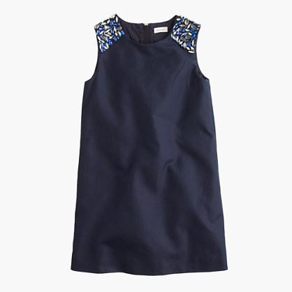 Girls' jeweled-shoulder shift dress