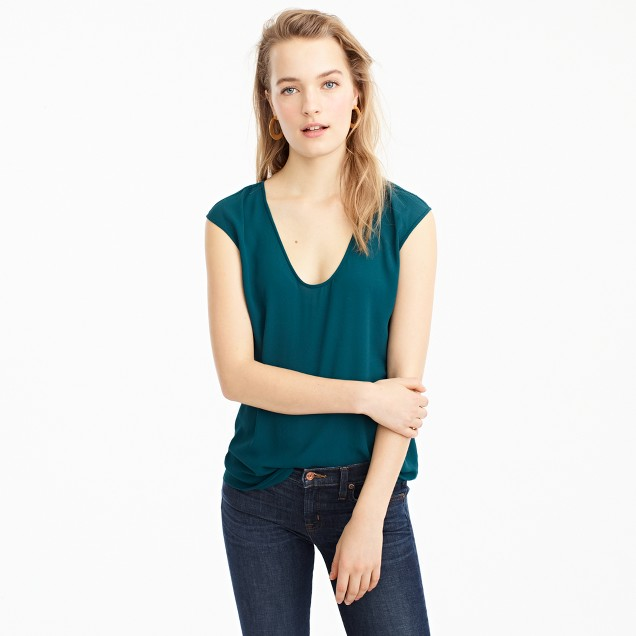 Petite cap-sleeve shirttail top