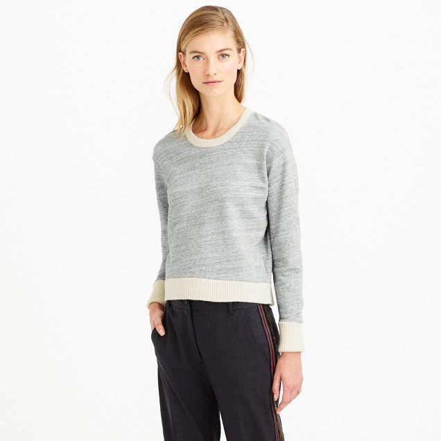 Sweater-tipped sweatshirt