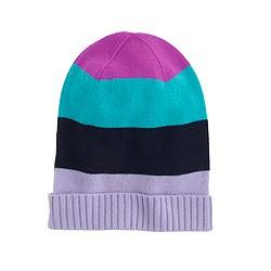 Kids' colorblock-stripe cashmere hat