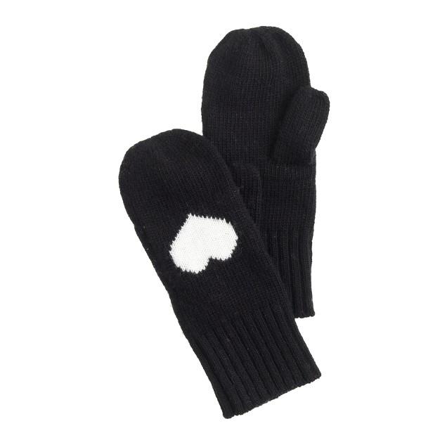 Kids' heart mittens