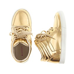 Girls' mirror metallic high-top sneakers