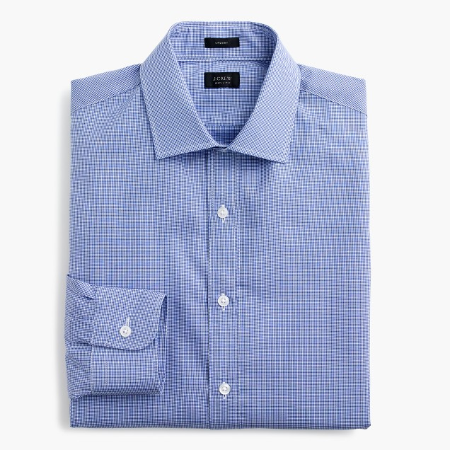 Crosby shirt in blue microgingham